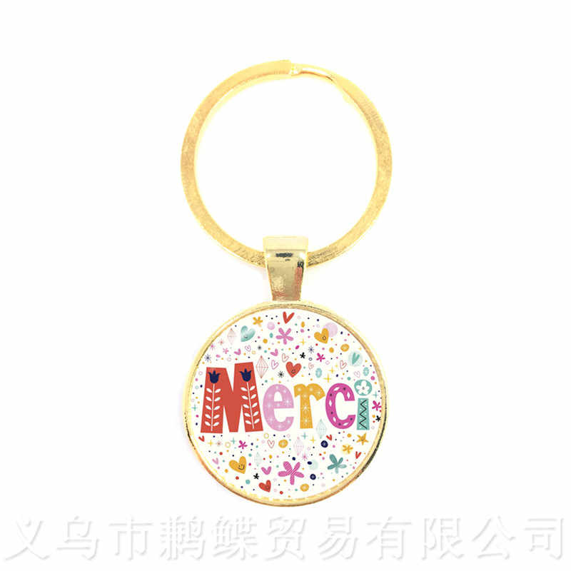 Teacher's Day Gifts Keyring Bee picture Merci Maitresse Keychain Men Women Charm Merci Maitresse Jewlery Keyholder