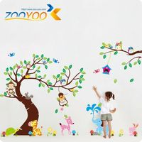 DIY PVC Removable Animal Wall Stickers For Kids Room ZooYoo New ArrivalOriginal Wall Decals For Home