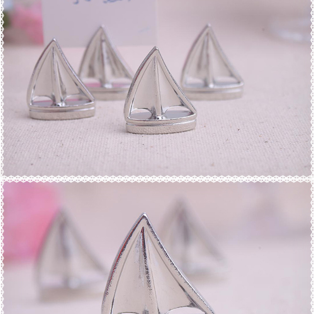 1pcs Sail Boat Silver Beach Theme Place Card Holders Wedding picture ...