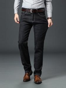 Image 5 - Jantour Brand Jeans Men High Stretch Black Blue Slim Straight Denim Business Pants mens, Cotton And Spandex Plus Size 40 42 44