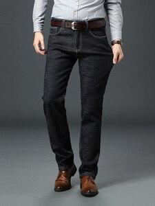 Image 5 - Jantour Brand Jeans hombres de alta elasticidad Negro Azul Slim Straight Denim Business Pants hombre, algodón y Spandex de talla grande 40 42 44