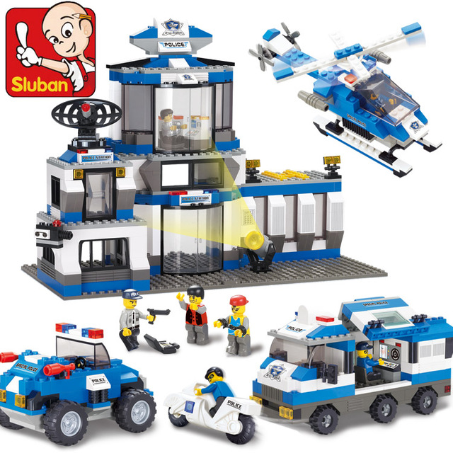 SLUBAN 0193 859Pcs Police SWAT Headquarters Model Building Block Construction Toys Gift For Children