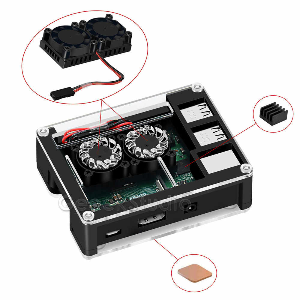 Acrylic ABS Plastic Case with Optional 3B+ Version Dual Fan Heatink 5V 2.5A Power Adapter Only for Rasberry Pi 3B Plus / 3 B+