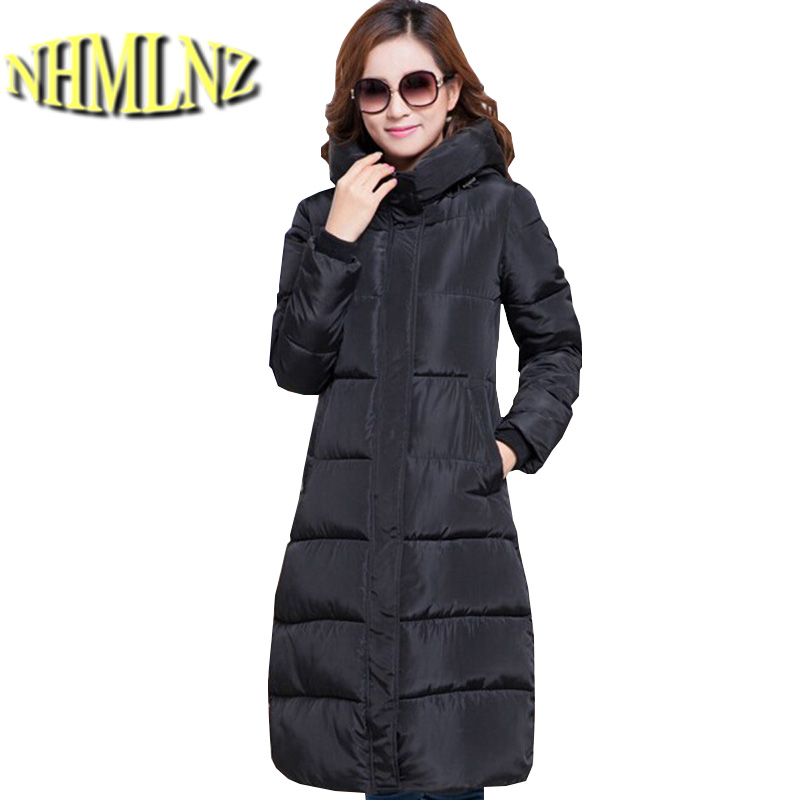 Europe Latest Fashion Women Winter Coat Elegant Hooded Printing Super Warm Down jacket Pure color Big yards Long Slim Coat G2212 цены онлайн