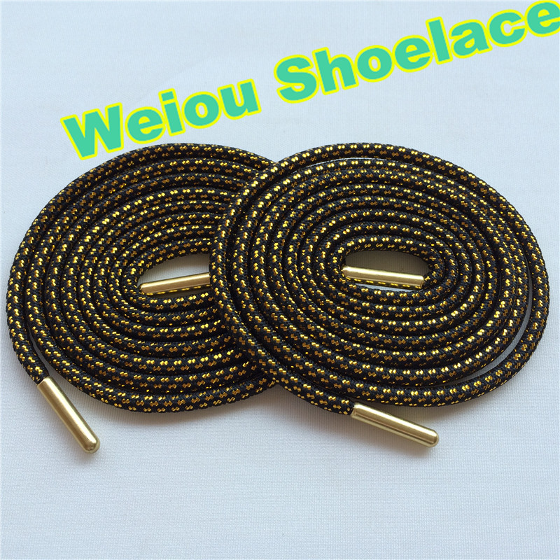 (30 pairs/Lot) Weiou black gold laces sneaker shoelaces two color shoe laces glitter metallic gold shoelaces for boots shoes