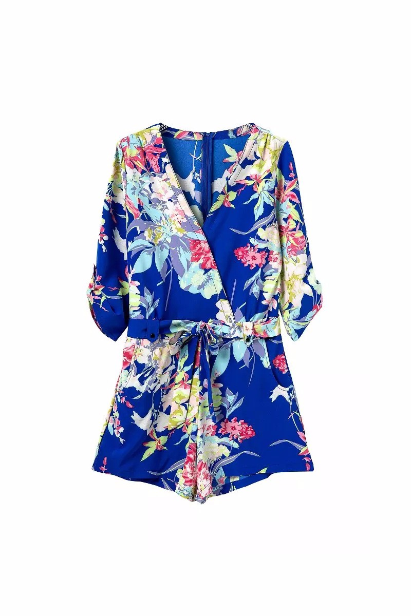 Blue Floral Printing V-neck Wrap Front Cropped Sleeve Waisted Jumpsuit