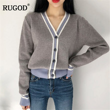 RUGOD Cardigans Long Sleeve Knitted Sweater Casual Warm Winter Clothes Korean Women