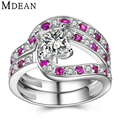 MDEAN Square Genuine 925 Sterling Silver Solid Jewelry Ruby Pure CZ Diamond Engagement Ring Sets for Women Wedding Bague MSR485