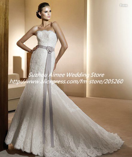 Discout eu4041 elegant strapless shell lace wedding for Country style lace wedding dress