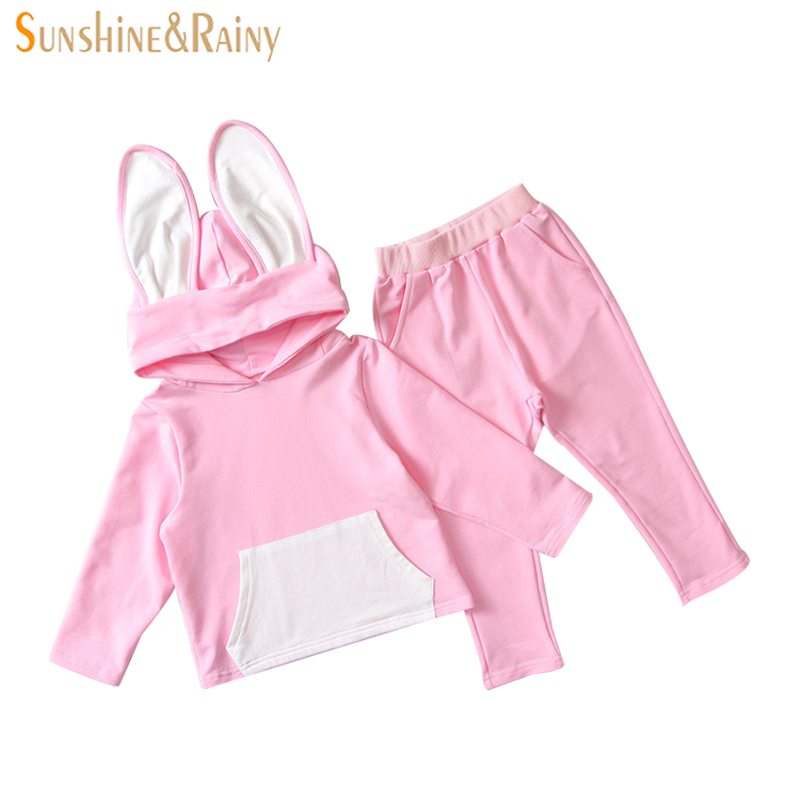 Baby Girls Clothing Sets Kids Girls Tracksuits Rabbit Ear Hooded Sport Suit Spring Autumn Clothes Children Casual Set Outfits