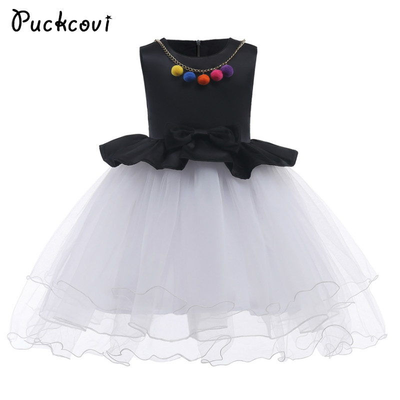 Puckcovi Girls Dress with Neckless Vestidos 2018 New princess party dress Spliced Girls Wedding dresses with bow Black onepiece