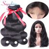 Sapphire 360 Lace Frontal With Bundle Peruvian Body Wave Remy Human Hair Weave 4Bundles Pre Plucked