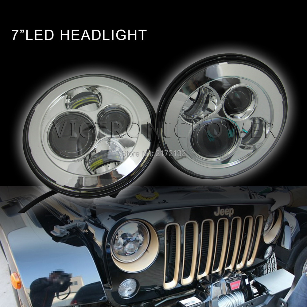 On sale 7 inch 45w round led 7'' for jeep headlight for jeep motorcycle harley with H4 H13 plug мажируж 7 45 rubilane