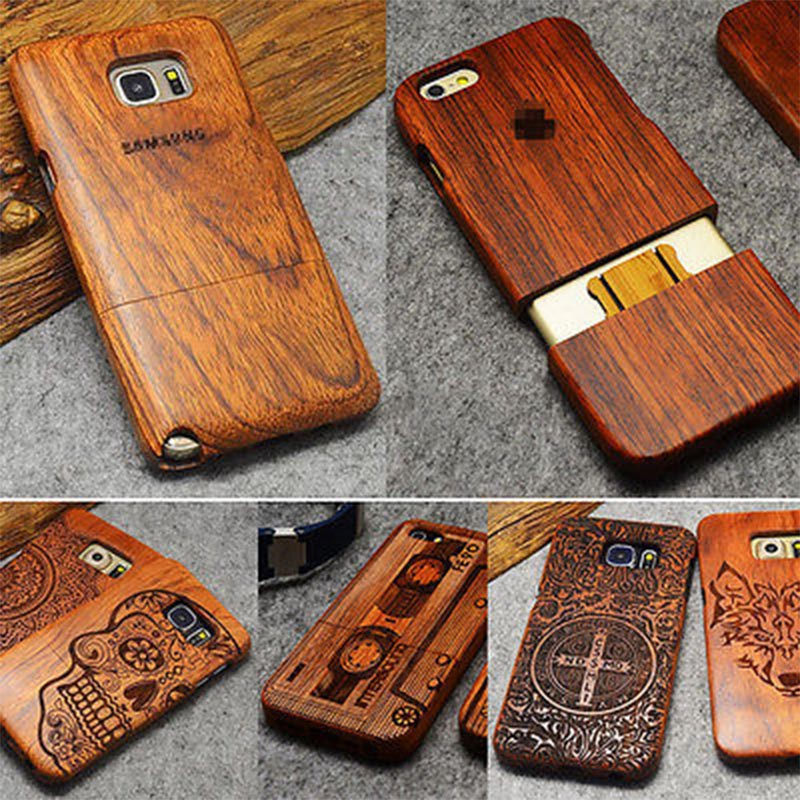 Wood Case For Samsung Galaxy S5 S6 S7 S8 Edge Plus Note 7 5 4 3 100% Natural Carving Case For iPhone 7 6 6S Plus 5 5S SE Cover