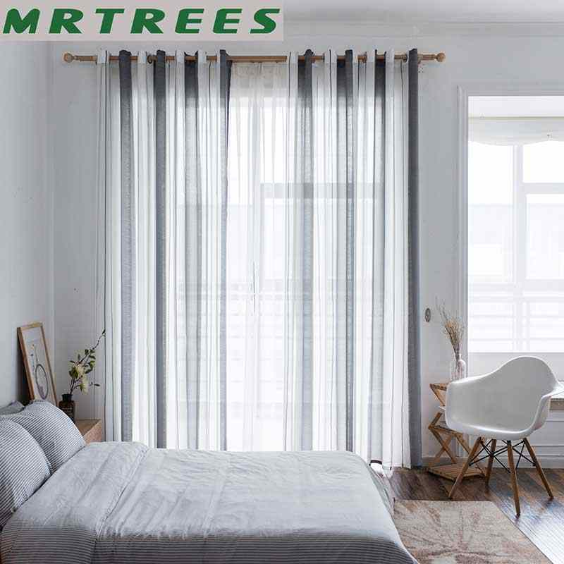 METREES Striped Modern Tulle Curtains for Living Room Bedroom Kitchen Linen Window Voile Sheer Curtain for Window Tulle Curtains