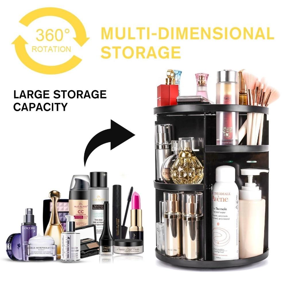 Organizador de maquillaje grande de escritorio de 360 grados giratorio ajustable Multi-función de almacenamiento cosmético caja de cepillo organizador de joyería