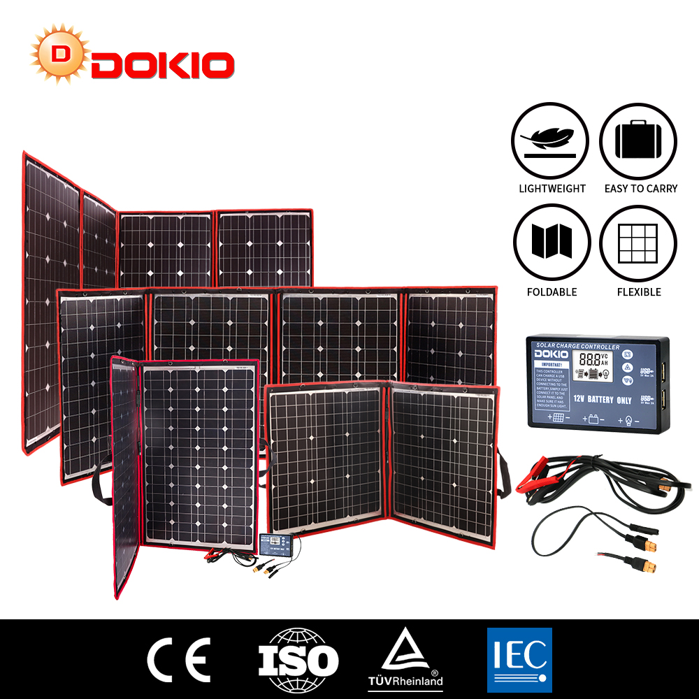 Dokio Flexible Foldable <font><b>Solar</b></font> <font><b>Panel</b></font> High Efficience Travel & Phone & Boat Portable 12V 80w 100w <font><b>150w</b></font> 200w 300w <font><b>Solar</b></font> <font><b>Panel</b></font> Kit image