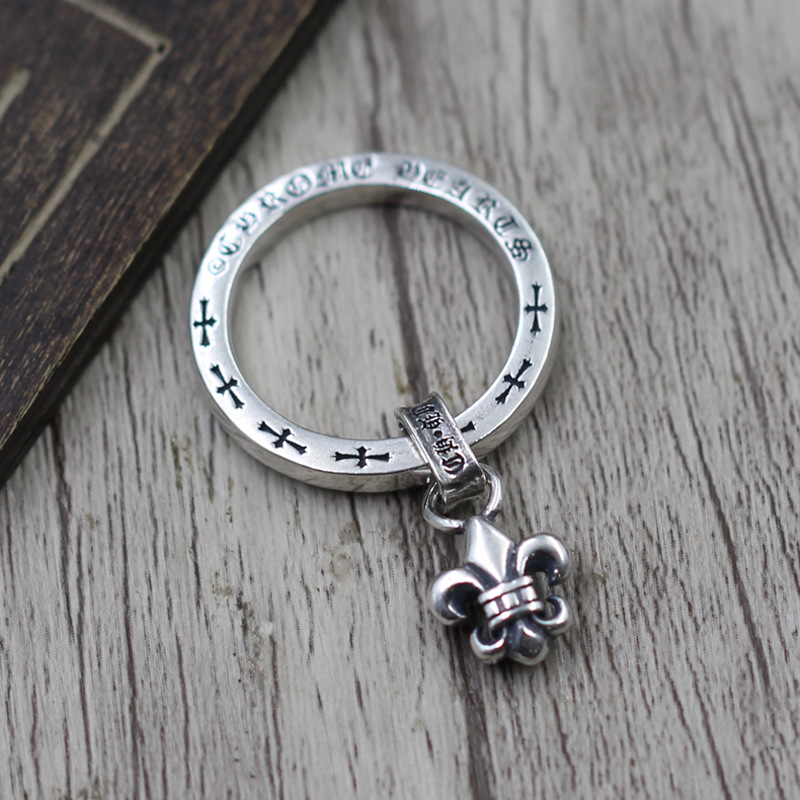 S925 Sterling Silver Jewelry Anchor Pendant Finger Ring Thai Silver Retro Personality Male And Female Models Ring