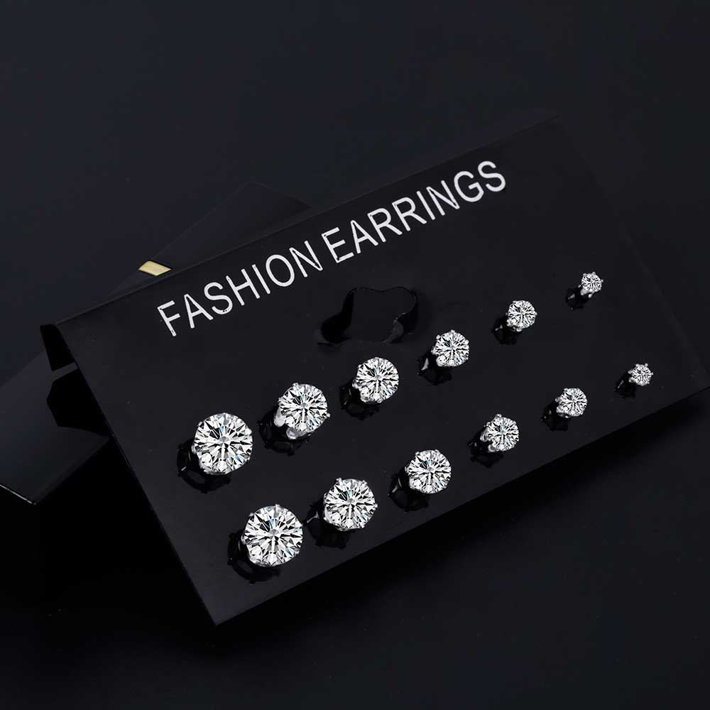 ALIUTOM Fashion 6 Pair/ Set Punk Zircon Crystal Stud Earrings Set For Women Round Flower Gothic Design Brincos Jewelry Bijoux