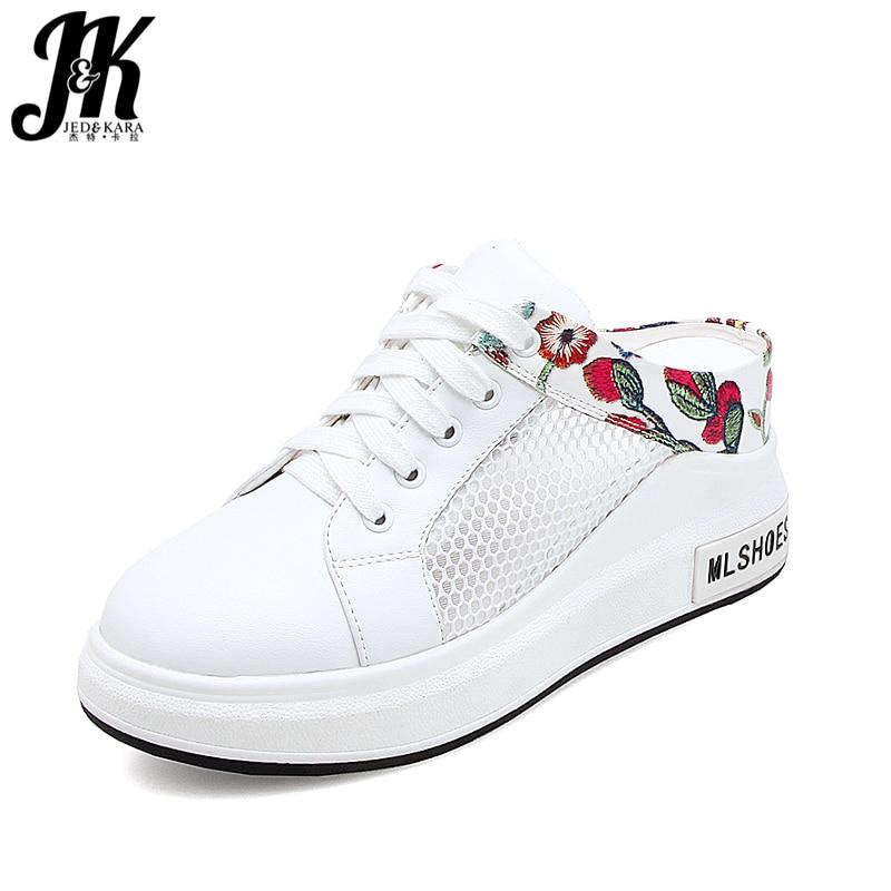 JK Casual High Heels Women Slippers Round Toe Wedges Embroider Mesh Slides Footwear Summer Platform Elevator Ladies Mules Shoes цена