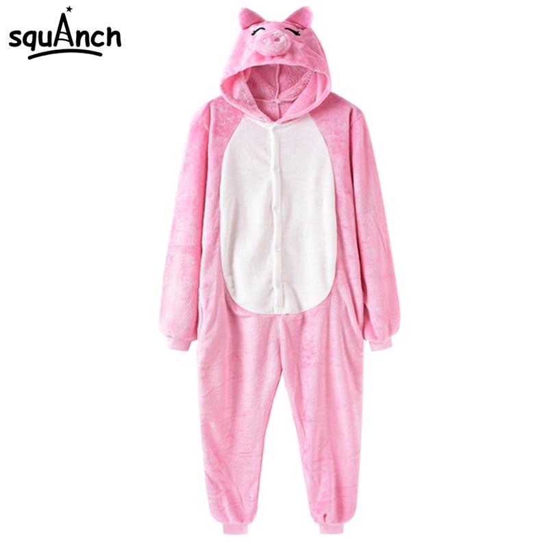 Animal Cosplay Costume Pink Pig Onesie Adult Women Kawaii Pajama Suit Onepiece Soft Warm Sleep Wear Festival Cartoon Fantasias