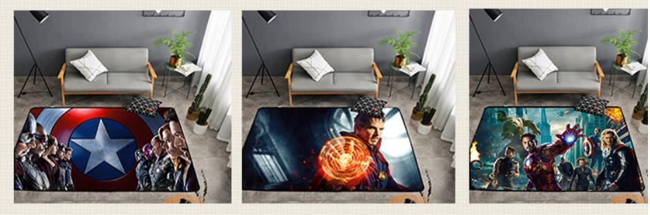 Superheroes Printed Soft Carpets Anti-slip Rugs