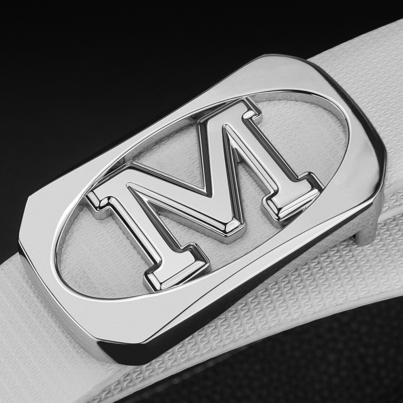 M brand luxury   belt   male youth fashion genuine leather white letter buckle men   belt   casual leisure personality smooth buckle