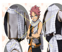Free Shipping Fairy Tail Natsu Dragneel Cosplay Costume black and white scarf /Muffler black and white marled knit scarf