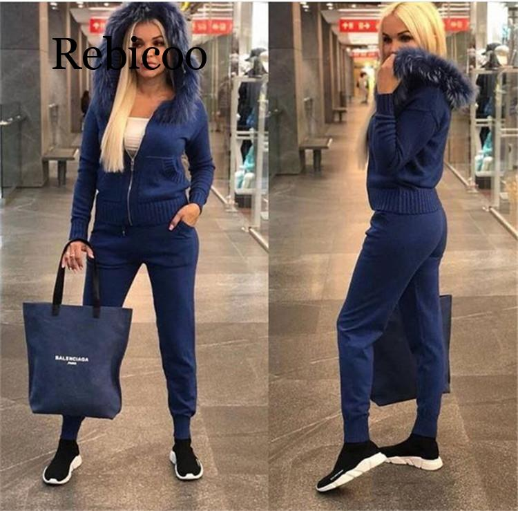 Faux fur collar hooded knit suit 2019 New women Autumn winter Long sleeves Knitted tracksuit casual pant set 2 piece set in Women 39 s Sets from Women 39 s Clothing