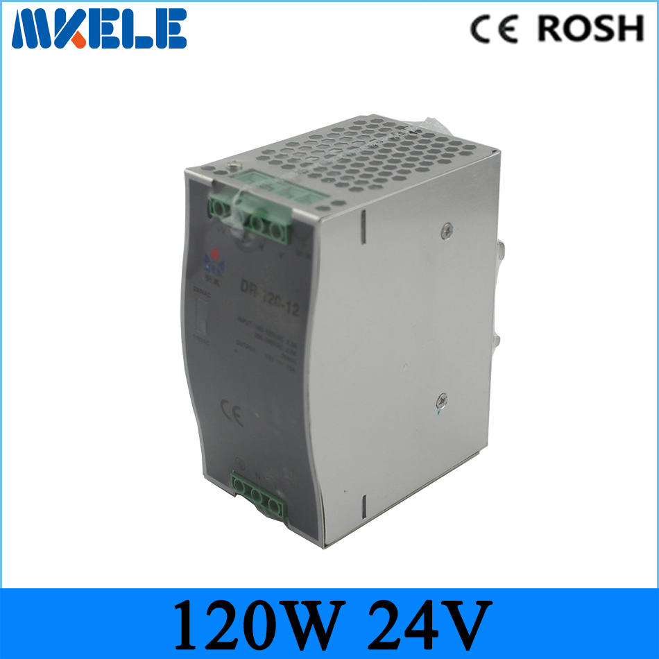 DR series high power wide range input high efficiency and low price DR-120-24 120W 24VDC 5A Din Rail Switching power supply