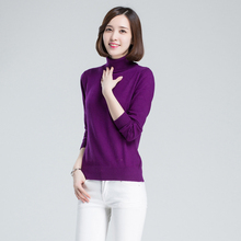 High-quality female cashmere sweater high collar simple lady cashmere knitwear comfort a lady cashmere sweater clothes