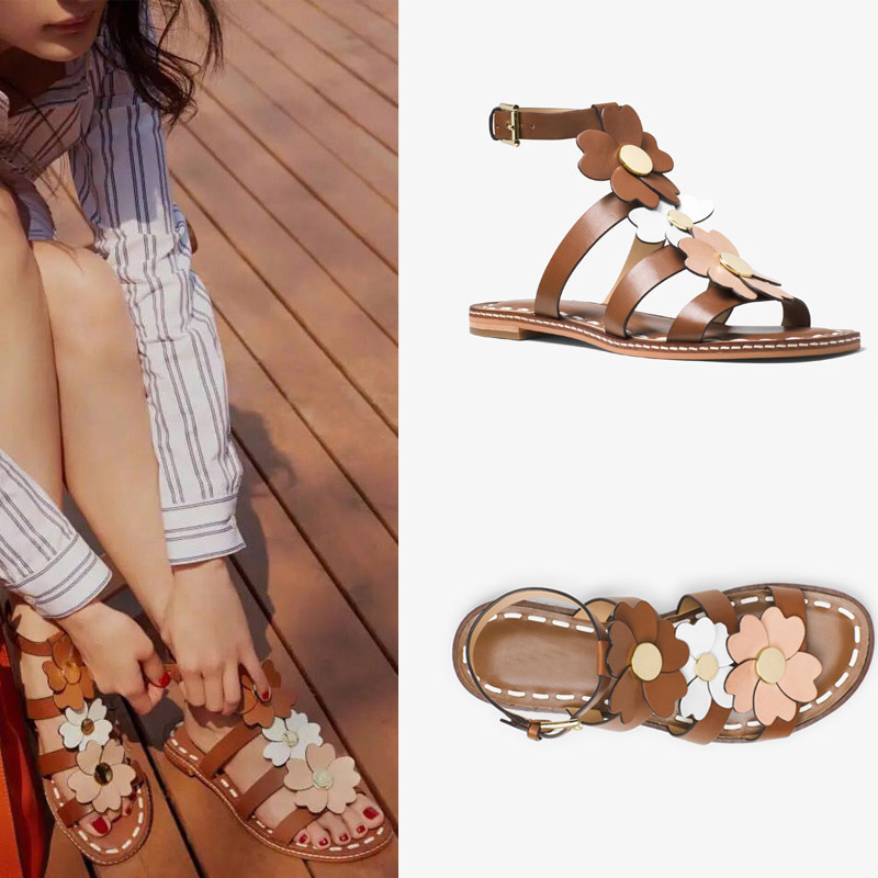 2017 New Summer Fashion Women Casual Shoes Genuine Leather Lady Leisure Sandals Gladiator All-match Ankle Peep Toe Flowers  summer sandals women leather breathable mesh outdoor super light flats shoes all match casual shoes aa40140