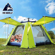 Hewolf 3-4 Person Automatic Huge Faimliy Party Hiking Travel Beach Fishing Anti Water Awning Pergola Relief Outdoor Camping Tent