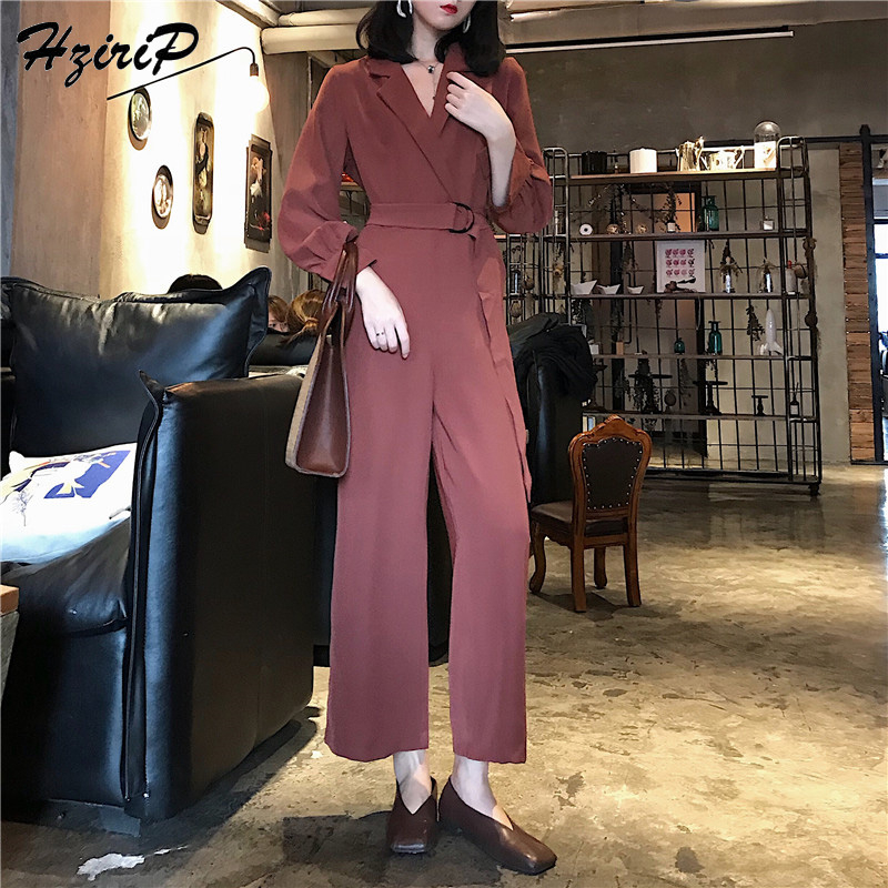 HziriP Sexy Jumpsuit Women Romper 2018 Spring Autumn Elegant Party V-neck Sexy Solid Playsuits Long Sleeves Long Pants Overalls