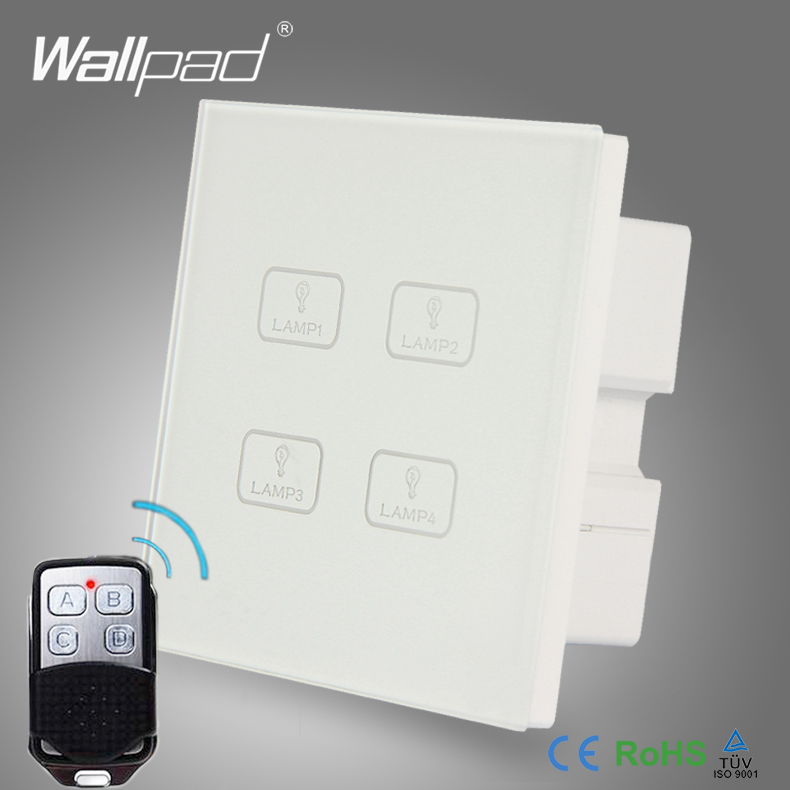 Remote 4 Gang Switch New Design Wallpad White Crystal Glass 4 Gang 2 Way 3 Way Wireless Remote Touch Screen Light Wall Switch eu 1 gang wallpad wireless remote control wall touch light switch crystal glass white waterproof wifi light switch free shipping