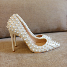 Free shipping fashion women Pumps lady white patent leather studded spikes Pointy toe high heels shoes size33-43 12cm 10cm 8cm