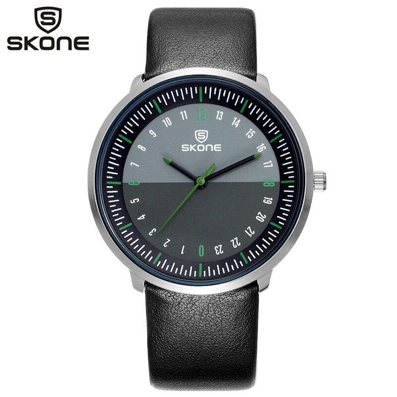5420c95808d Homens SKONE Relógio Moda Homem e Mulheres Casuais Relógio de Quartzo de  Couro Neutro Simples Relógio de Pulso Montre Homme Masculino 9425 1G em  Amante de ...