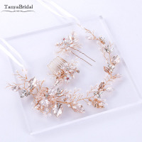 Rose Gold Hairpieces Crystal Pearls Metal Headband bridal headdress Wedding Accessories 3 pieces DH013