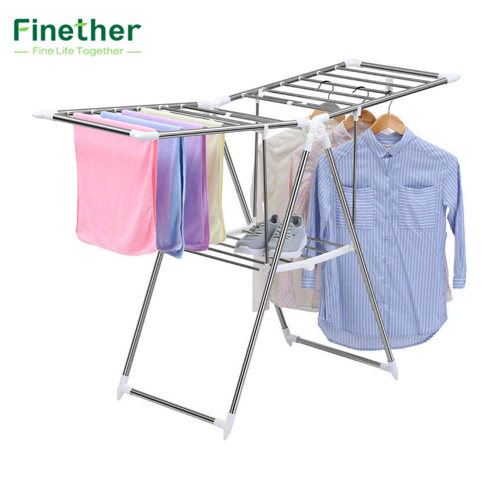 finether collapsible adjustable indoor outdoor gullwing drying rack organizer clothes hanger. Black Bedroom Furniture Sets. Home Design Ideas