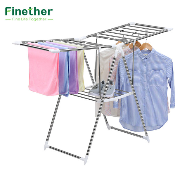 Finether Collapsible Adjustable Indoor Outdoor Gullwing Drying Rack