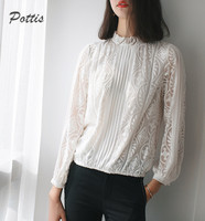 Pottis Women 100% Silk Embroider Round neck Tee Full Sleeve Flounce Shirt See Through Hollow Out Slim