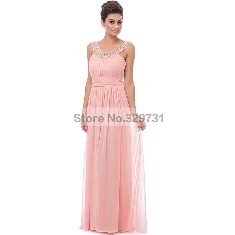 Elegante del partido Vestido vestidos perlas gasa plisada Coral dama ...