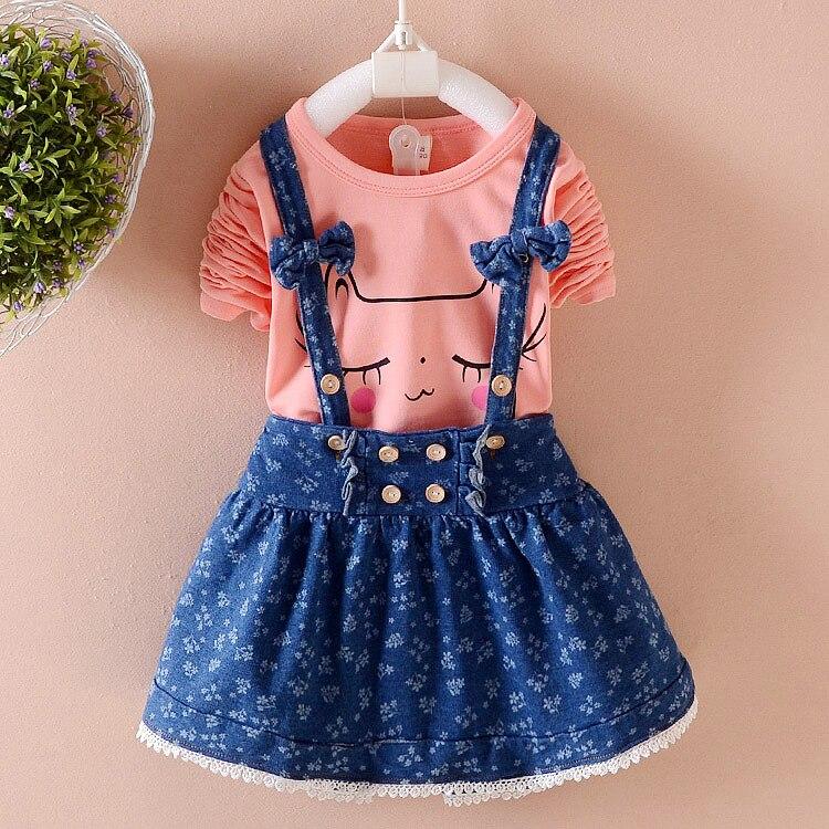 Spring Baby Girls Clothes Cartoon Cat Cotton Long Sleeve Shirt+jeans Overalls Dress 2pcs Suit Baby girls Newborn Kids Clothing
