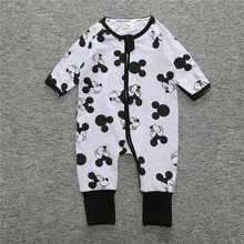 Baby Romper With Cartoon Pattern For Baby Boys Pajama Overalls Clothing Feet Cover Sleepwear Body Suits One-piece Romper