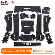 For Volkswagen T-ROC T ROC TROC 2017 2018 Car Gate Slot Pad Non-slip Cup Mat Anti Slip Door Groove Interior Accessory