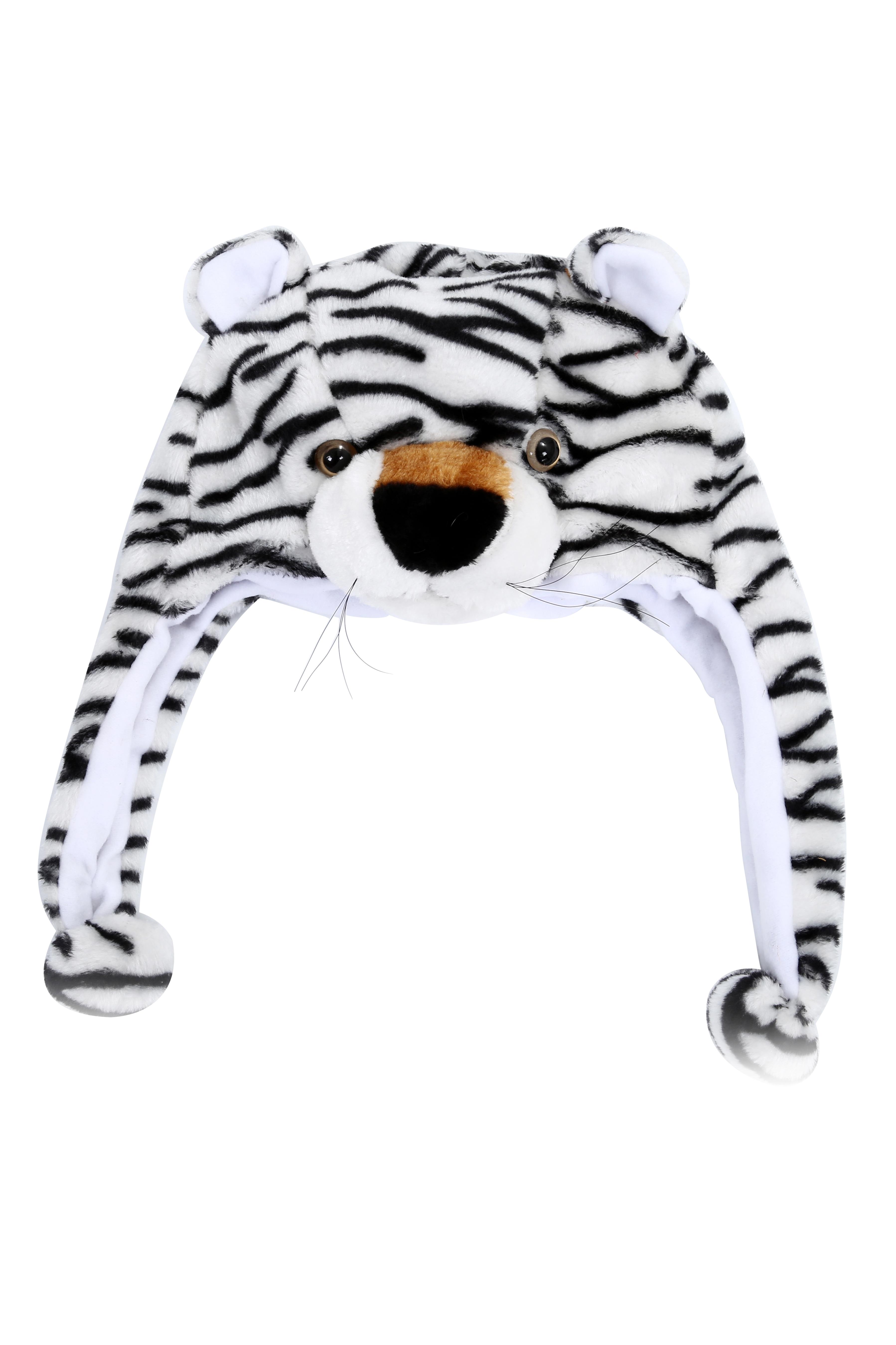 SAF Animal Hat With Scarf Faux Fur Kids Winter Hat White Tiger-in ... 715b2a5af22