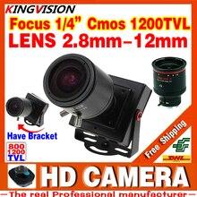 Новый Продукт Мини Ручной фокусировки 2.8 м-12 мм 1/4 CMOS 1200TVL Djustable Цвет Объектива Видео HD CCTV Камеры Видеонаблюдения Металл