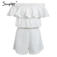 Simplee Off shoulder boho lace rompers womens jumpsuit Ruffle elegant white playsuit Summer beach short jumpsuit 2018