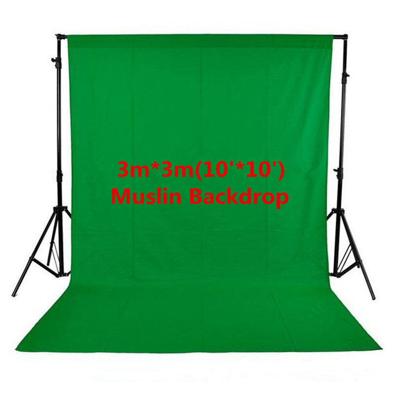 Photo Studio 100% Cotton 3m x 3m Solid Green Screen Muslin Backdrop Photography Backgrounds Backdrops inno photo studio photography 10ft x 20ft 3m x 6m studio solid background muslin backdrop green 100% cotton high quality psb3b