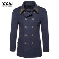 Retro British Double Breasted Mens Wool Blends Coat Fashion Embroidery Lapel Collar Male Overcoat Winter Woolen Trench Sobretudo